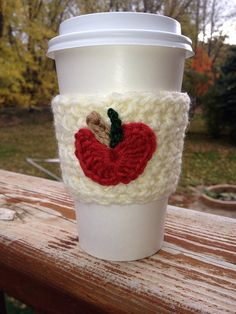 apple coffee cozy on Etsy, $8.00
