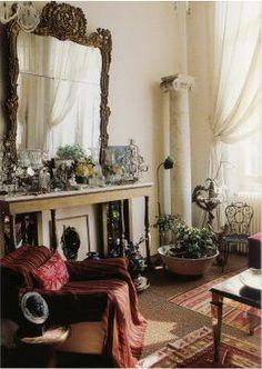 Fabulous Paris home of the late Loulou de la Falaise. living room