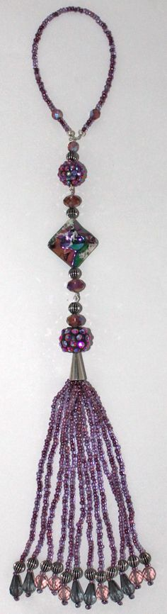 BEADED TASSEL  Purple and Funky Pave Beads by GMBDesignsCustom, $18.00