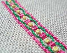 Guilloche stitch - embroider colorful, effective, easy borders!