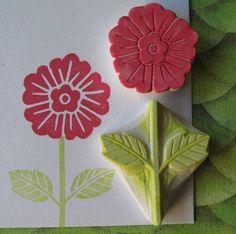 Hand Carved Flower Stamp Set