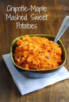 Chipotle-Maple Mashed Sweet Potatoes - Sweet potatoes mashed with smoky chipotle peppers and maple syrup for a healthful yet comforting side dish.