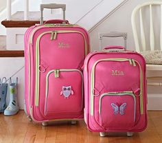 Fairfax Pink Luggage #PotteryBarnKids