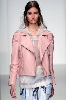 Baby pink leather jacket