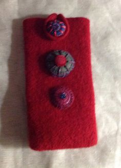 Felted wool Eye glass case true red color  embroidery buttons upcycled by mcleodhandcraftgifts,