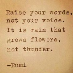 Raise your words, not your voice.   Rumi