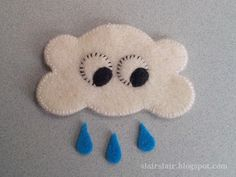 Cloud & Raindrop Pattern in two sizes. Large size for stuffies and mobiles. Small size for brooches and ornaments.