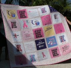 Breast Cancer t-shirt quilt I made for my survivor friend.