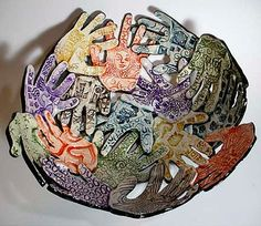 School Silent Auction Artwork - Adorable bowl made from decorated, glazed-clay handprints!