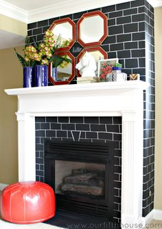 chalkboard bricks  - fireplace makeover
