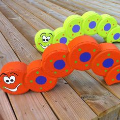 Painted Paver/Edger Craft -- Inch Worms -- These are too cute!!  from Crafty Treasures FB