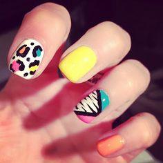 nail polish, neon 80s, 80s inspir, colorful nails, beauti, animal prints, inspir nail, 80s nail, nail art