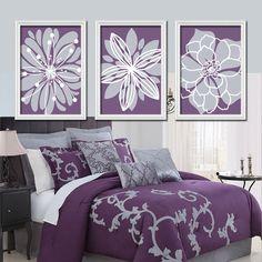 Purple Lavender Gray Flower Burst Outline Dahlia Floral Bloom Artwork Set of 3 Prints WALL Decor Abstract ART Picture Bedroom Bathroom Three on Etsy, $29.00 Bedding, Comfort Set, Grey Bedrooms, Decorative Pillows, Plums, Comforter Sets, Home Kitchens, Master Bedroom, Purple Bedrooms