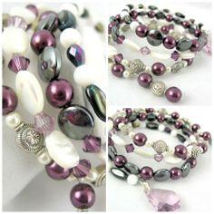 Mother of Pearl with Purple Swarovski Crystal Memory Wire bracelet | jazzitupwithdesignsbynancy - Jewelry on ArtFire