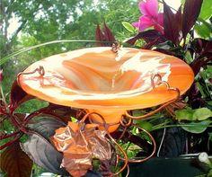 Glass bird baths from Glorious Glass Garden on Glass Crafts blog.