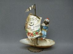 1900 Victorian Sailors Shell Art Worlds Fair Antique Ship Arab Figurine Figure