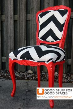 Red Black and White Chevron Louis Chair by Upcycled Home