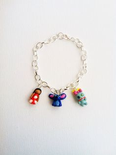 Lilo and Stitch Inspired Charm Bracelet Polymer Clay