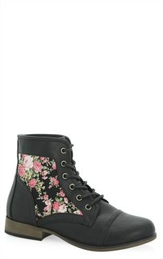 Deb Shops Lace Up #Combat #Boot with #Floral Print Side $39.90
