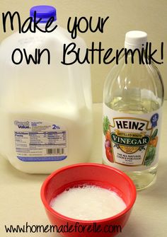 Never buy buttermilk again with this trick! ............................................................................  Using a 1-cup measuring cup, add 1 tablespoon of lemon juice or vinegar. Fill the remainder of the cup with plain milk. Let it sit for five minutes and you have DIY buttermilk that will always get the job done!
