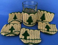 6 Hand Crochet Christmas Tree Glass Tumbler Cozy Sleeve