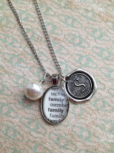 Dictionary Word and Wax Seal Initial Necklace by outoftheblue, $25.00