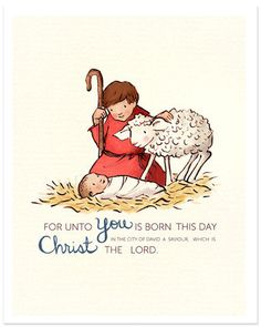 Children's Wall Art Print - For Unto You - 8x10 - Holiday Kids Nursery Room Decor  $26 8x10