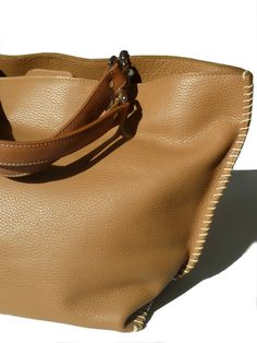 HANDLES SOLD SEPARATELY, please enter as separate item. Gamidi 2 Tote bag in Tan Pebble Grain Leather, fully lined, two zippered pockets, top snap, cell phone pocket, key chain holder, handles sold separately - you pick them!Please remember to email us if you don't see a color - chances are we have something just perfect for you...These items are part of our exclusive to Taigan online IMPERIAL Trunk show, and may take 4-6 weeks for delivery, but might be sooner...Colors are Black, Chocolate, ...