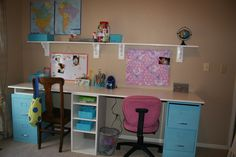 New kids desk for under $75! Found metal file cabinets for $5 bucks each at a garage sale. Used Krylon ocean blue spray paint. Husband bought the white wood board at  Home depot for $25 then some shelving material he cut for the white shelf under the center of the desk for $10. Found bins and baskets in the same blue at savers and michaels  ( all on sale of course) Repurposed the shelves above the desk from another room. I need to find another wooden chair then paint them both a sunny yellow.