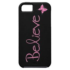 Pink Ribbon Believe Butterfly iphone 5 Case