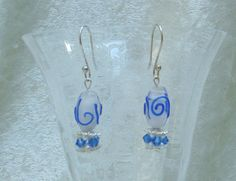 Blue and white drop earrings/ Blue crystals by LittleGemsandMore, $10.00