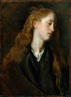 VAN DYCK Sir Antoon van Dyck - Flemish (Antwerpen 1599-1641 Londen) ~ Study Head of a Young Woman.  Anthony van Dyck, 1618-20. Oil on paper, laid down on wood