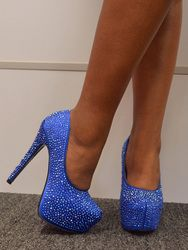 Sapphire Blue Crystal Pumps