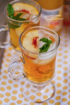 Sweet as a Peach cocktail ~  Jack Daniel's Tennessee Honey or bourbon, peach sparkling juice, lemon juice, fresh peach slices + mint leaves