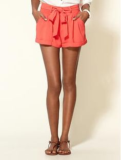 coral tie-front shorts