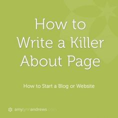 how to write a killer about page