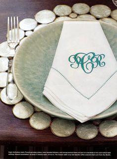 Phoebe Howard monogrammed linen napkin from Mrs. Howard Personal Shopper.