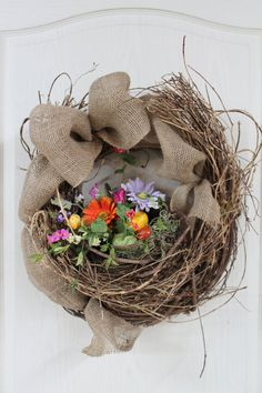 Easter Front Door Wreath, Country Easter Wreath, Easter Decor, Country Nest with Easter Eggs, Primitive decor via Etsy.