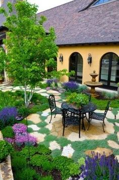 castl, outdoor living spaces, french country, patio, backyard, pine, country courtyard garden, landscape designs, beauti courtyard