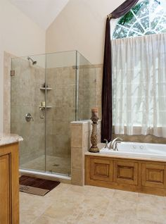 Master Bath of The Winslow Home Design 903 - This spacious bathroom has separate vanities, corner shower, and private privy, all topped with a vaulted ceiling. http://www.dongardner.com/images.aspx?pid=2357&fn=interiors\903bath.jpg #Shower #Bathroom #FloorPlan