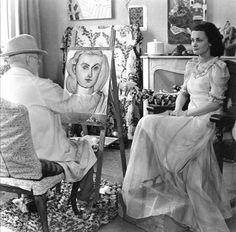 Matisse con una de sus modelos. Foto tomada de http://lesptitsbleusdartemisia.blogspot.fr/2011/07/modeles-de-peintres.html#