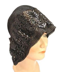 Deco Black Sequined Cloche Vintage 1920's Straw Flapper Evening Hat.