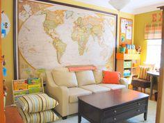 decor, idea, dream, world maps, homeschool room, playroom, hous, wall, kid