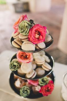 "macaron ""cake"" // photo by Mike Olbinski // http://ruffledblog.com/romantic-windgate-ranch-wedding"