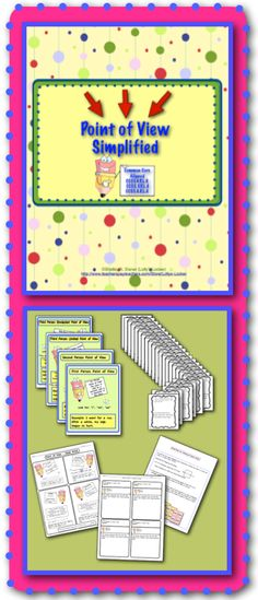 """$ An understanding of Point of View is vital for students to grow and mature as readers and writers.  This Common Core aligned, 34 page teaching pack is perfect for introduction and review of this key concept. The four full color posters (8-1/2"""" X 11"""" ) are complete with definitions, what to look for and examples of:•First Person Point of View •Second Person Point of View •Third Person Limited Point of View •Third Person Omniscient Point of View.. and much more$"""