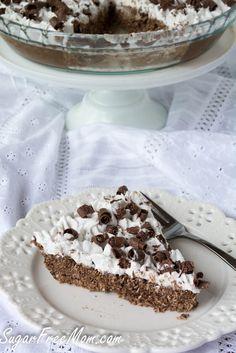 Chocolate Coconut Mounds Pie- Sugar free, dairy free, low carb/ sugarfreemom.com