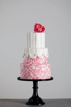 Beautiful Hand Painted Flowers Wedding Cake