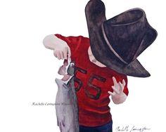 Little Cowboy Art Print   (Baby boy wall decor from original cowboy painting) Toddler Boy room decor (Boys Nursery 8 x10). $16.00 USD, via Etsy.