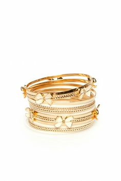 bling, dreams, accessori, bangl set, bows, bangles, fashion savvi, jewelri, gold bangl