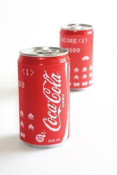 spaceinvad, coca cola, coke, cocacola, space invaders, video games, 8bit, design, 8 bit